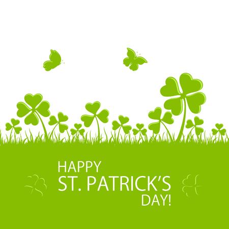 St. Patrick's Day groene achtergrond met klavers in het gras en vliegende vlinder, illustratie.
