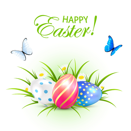 Easter eggs in grass and butterflies on white background, illustration.