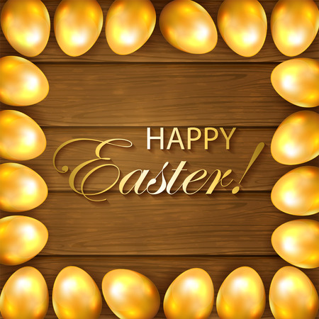 brown egg: Frame from golden Easter eggs on a wooden background, illustration. Illustration