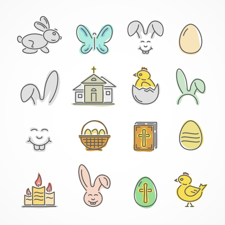 Set of colorful Easter icons isolated on white background, illustration.