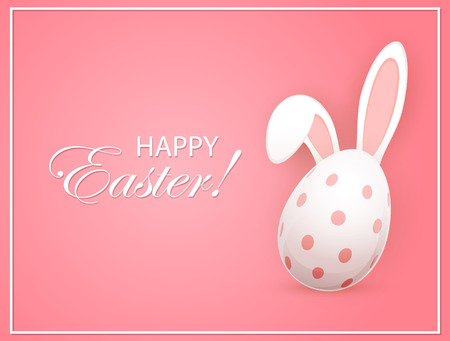 bunny ears: Easter egg with rabbit ears on pink background, illustration.