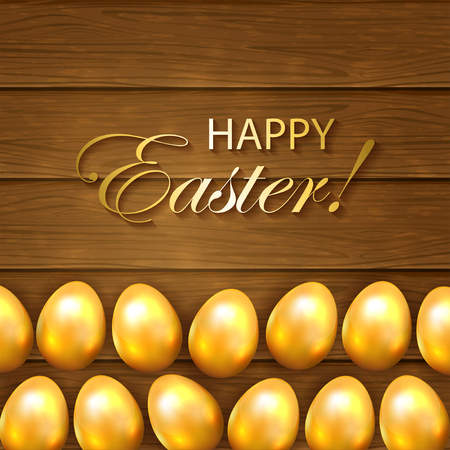 brown egg: Set of golden Easter eggs on a wooden background, illustration. Illustration