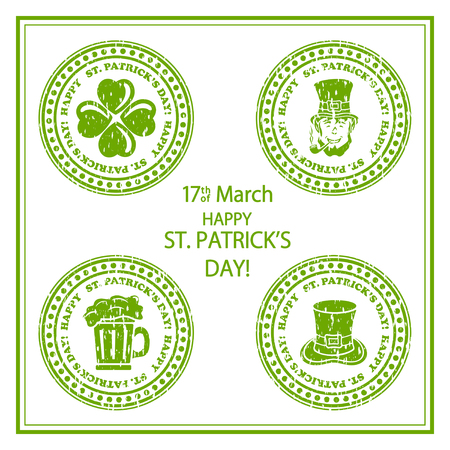 the irish image collection: Set of St. Patricks Day green stamps on white background, illustration. Illustration
