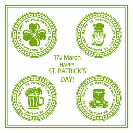 Set of St. Patricks Day green stamps on white background, illustration. Illustration