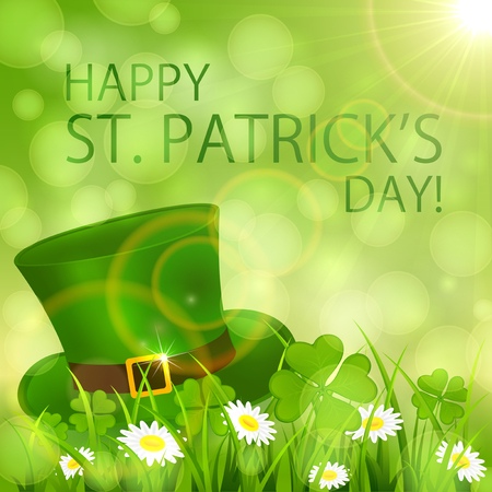 irish culture: Sunny Patricks Day background with clover and hat of leprechaun, illustration.