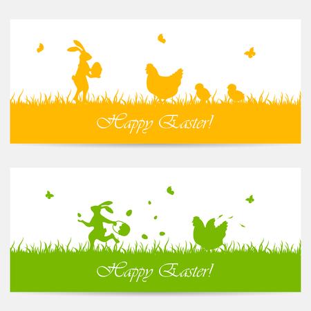 huevo caricatura: Naranja y banderas verdes con conejo de Pascua, la gallina y los pollos, ilustraci�n. Vectores