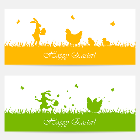 cartoon spring: Orange and green banners with Easter rabbit, hen and chickens, illustration.