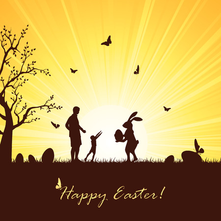 grass family: Silhouette of Easter rabbit with eggs and child with father, illustration. Illustration