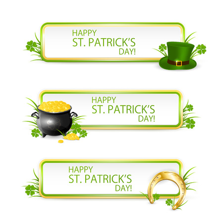 golden border: Patricks Day banners with green hat of leprechaun, golden horseshoe, clover and pot of gold, illustration.