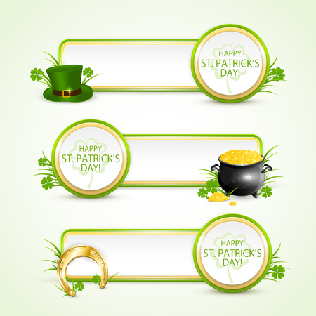 pots: Patricks Day banners with round card, green hat of leprechaun, golden horseshoe, clover and pot of gold on grass, illustration.