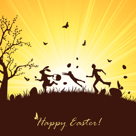 runaway: Silhouette of Easter rabbit with eggs runaway from people, illustration.