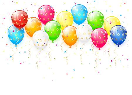 Día de fiesta globos multicolores y confeti sobre fondo blanco, ilustración.