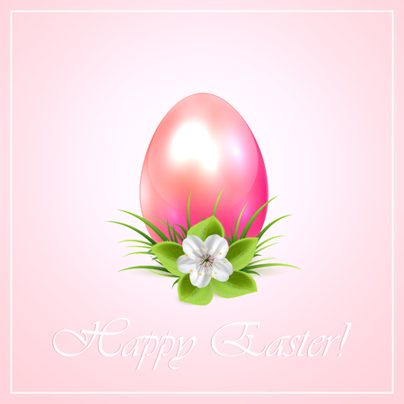 pink flower background: Easter egg with flower on pink background, illustration.