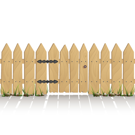 wicket gate: Wooden fence with gate isolated on white background, illustration.