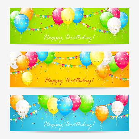 Colorful Birthday Cards With Balloons Confetti And Holiday Pennants