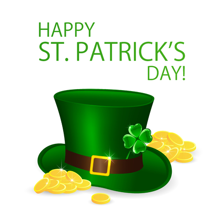 Happy Patricks Day background with green leprechauns hat and golden coins, illustration Illustration