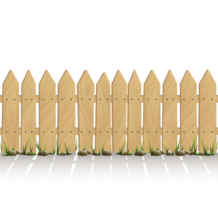 rural areas: Wooden fence with grass isolated on white background, illustration.