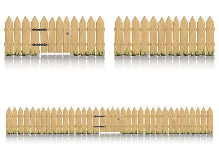 白い背景、イラストに分離されたゲートと木製のフェンスのシームレスな要素です。