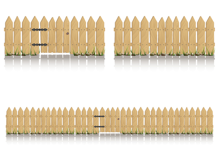 Seamless elements of wooden fence with gate isolated on white background, illustration.