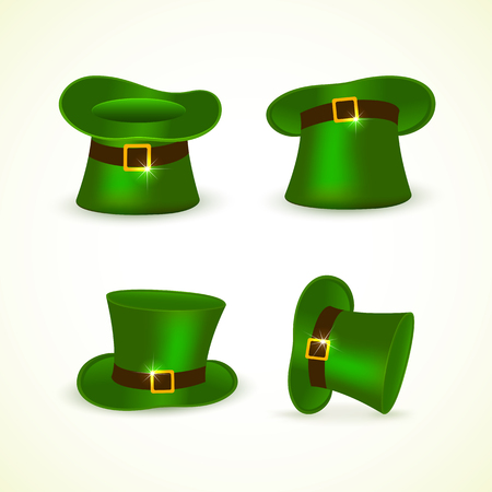 irish culture: Patricks Day background with set of green hats of leprechaun, illustration.