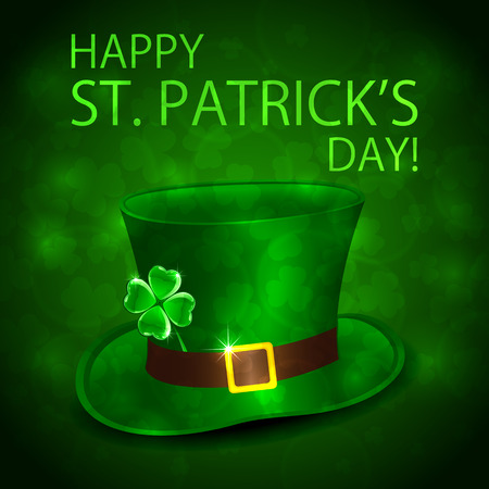 Happy Patricks Day background with green leprechauns hat and shiny clover, illustration.