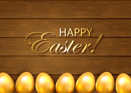 Wooden background and golden Easter eggs, illustration.