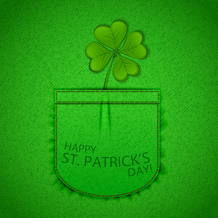 17 of march: Happy Patricks Day background with clover on green denim texture, illustration. Illustration