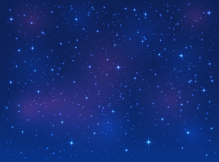 astronomic: Shining stars on blue sky, space background, illustration.