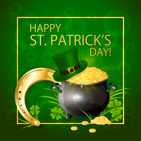 Horseshoe with pot of gold and hat of leprechaun in clover on green background, illustration.