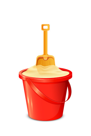 sandpit: Red bucket with sand and shovel isolated on white background, illustration.