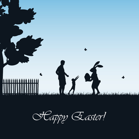 father and child: Silhouette of Easter rabbit with eggs and child with father on blue background, illustration. Illustration