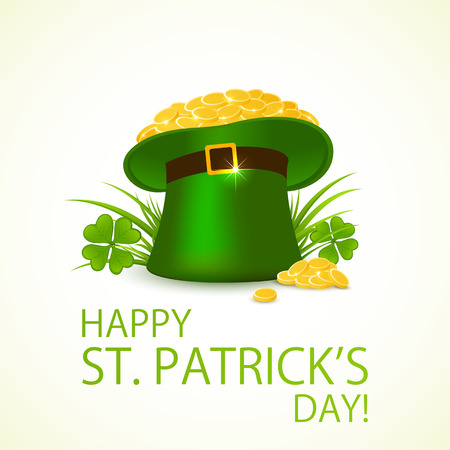 17 march: Green hat of leprechaun with gold in clover on background of Happy Patricks Day, illustration. Illustration