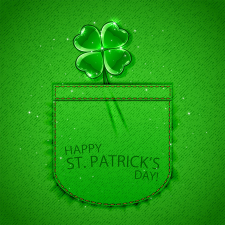 irish culture: Happy Patricks Day background with shiny clover in pocket of green denim texture, illustration.