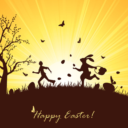 trees silhouette: Easter rabbit wit eggs catching up a man, illustration.