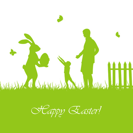 grass family: Silhouette of Easter rabbit with egg and child with father, illustration.