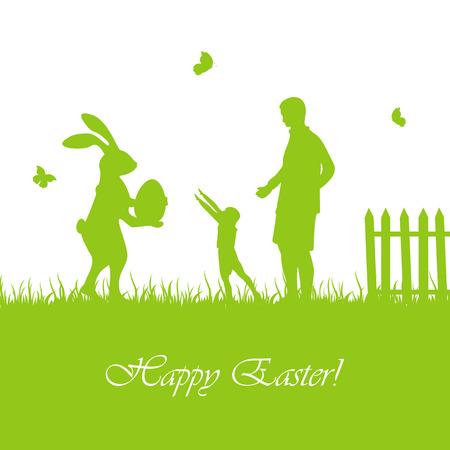 huevo caricatura: Silueta de conejo de Pascua con el huevo y el ni�o con el padre, la ilustraci�n.