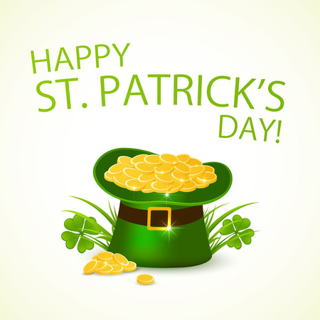 Green hat of leprechaun with golden coins in clover in background of Happy Patrick's Day, illustration.