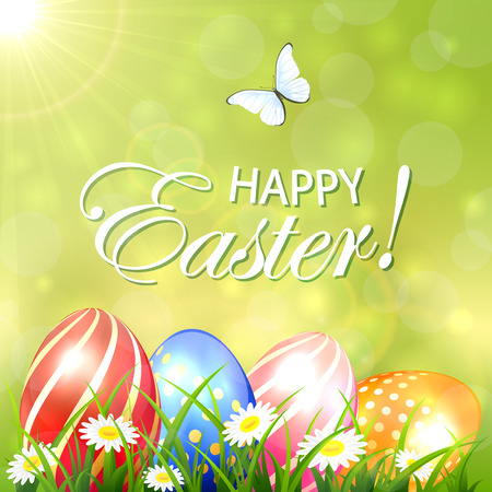 light pink: Abstract Easter background with colored eggs in grass with flowers and flying butterfly, illustration.