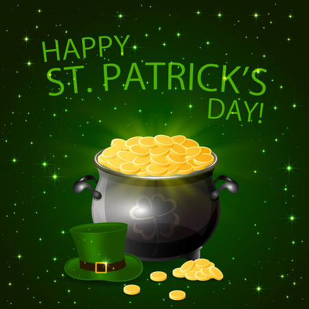 17 of march: Patricks day background with leprechaun gold, green hat and cauldron, illustration.