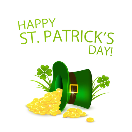 tilted: Happy Patricks Day background with clover and tilted hat of a Leprechaun with golden coins, illustration.