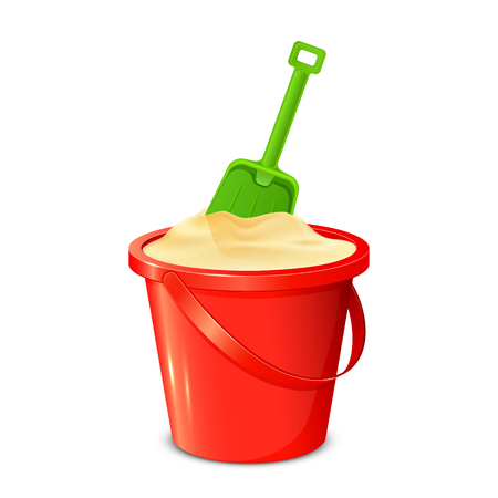 sandpit: Red bucket with sand and green shovel isolated on white background, illustration. Illustration