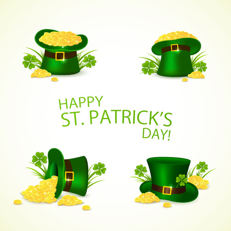 Set of green leprechaun hat with golden coins in clover on background of Happy Patrick's Day, illustration.