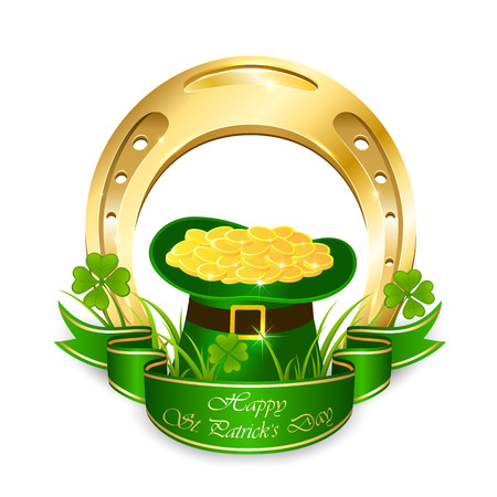 animal st  patricks day: Clover, golden horseshoe and green leprechaun hat with coins isolated on white background, illustration.