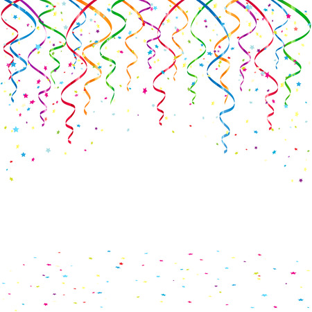 tinsel: Birthday background with confetti and tinsel, illustration.