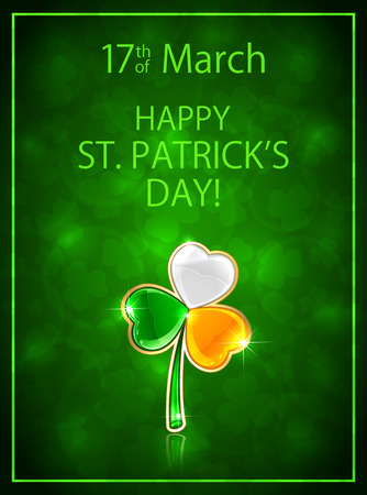 17 of march: Green background with leaf clover in Irish flag colors, theme of Happy St. Patricks Day, illustration.