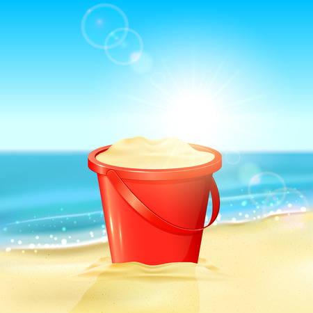 Tropical background with red bucket of sand on the sandy beach, illustration.