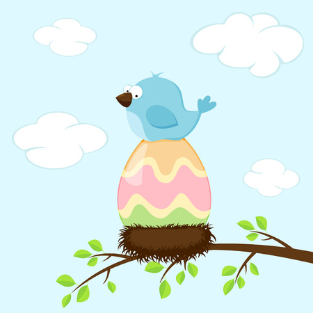 colored egg: Blue bird in the nest, incubates colored Easter egg, illustration.