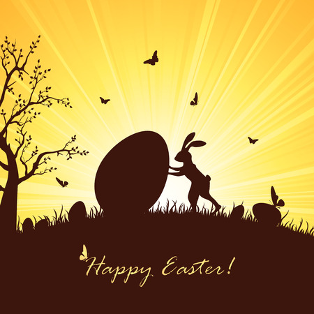 brown egg: Silhouette of Easter rabbit and big egg, illustration. Illustration