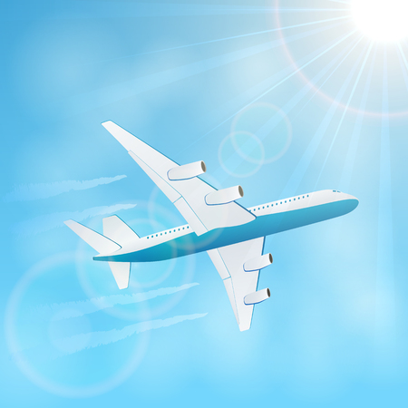 vapor trail: Plane in the blue sky with vapor trail, illustration. Illustration