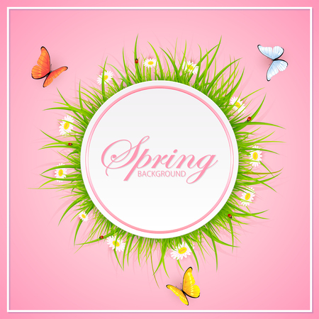 abstract pink: Abstract spring pink background with round card, grass, ladybugs and flying butterflies, illustration. Illustration